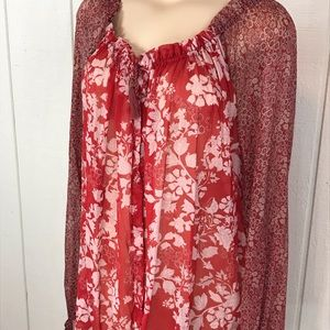 Tops - Red Free People Blouse size medium. Flower pattern
